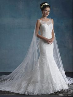Cape Wedding Dresses 2017 Mary's Bridal Unspoken Romance with Sheer Jewel Neck And Semi-Cathedral Watteau Train Mermaid Brides Gowns Fit And Flare Wedding Dresses Mermaid Wedding Dresses Romantic Wedding Dresses Online with $190.86/Piece on Grace2's Store | DHgate.com
