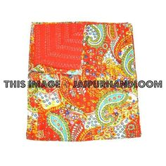 Queen Kantha Quilt In Red paisley Kantha Bed Cover