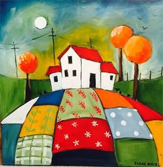 Susan Bence, Peaceful Patchwork : Oil, x South African Artists, Naive Art, Easy Paintings, Machine Quilting, Home Art, Whimsical, Folk, Arts And Crafts, Artsy