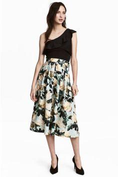 Calf-length skirt - Mint green/Floral - Ladies | H&M GB 1