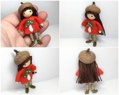 Bendy doll wearing a real acorn as a hat. Handmade by www.pntdolls.com