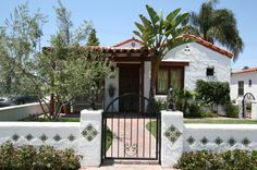 1926 Spanish Colonial Revival Beach House, Restored living room., Front of the 1926