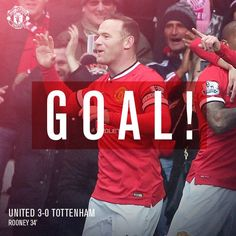 United 3 Tottenham 0. (34') Wayne Rooney finds the net! The skipper adds to the Reds' first-half lead and produces an apt celebration to go with it!