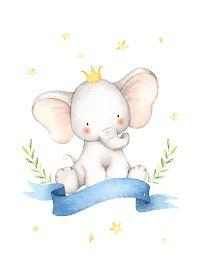 Cute Elephant Drawing, Baby Animal Drawings, Cute Drawings, Elephant Watercolor, Baby Clip Art, Baby Art, Elephant Nursery, Nursery Art, Animal Illustrations