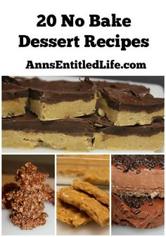 20 No Bake Dessert Recipes; Too hot to turn on the oven yet craving something sweet on a sultry summer day? Well try one of these quick, easy to make, delicious 20 No Bake Dessert Recipes! www.annsentitledl...