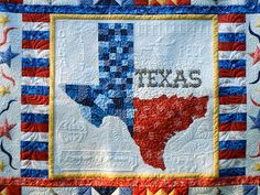 Bobbidink's Doings: Anytown, Texas Quilt. The quilting is amazing! Texas Quilt, Flag Quilt, Patriotic Quilts, Quilt Blocks, Quilt Block Patterns, Pattern Blocks, Western Quilts, Texas Western, Fabric Yarn