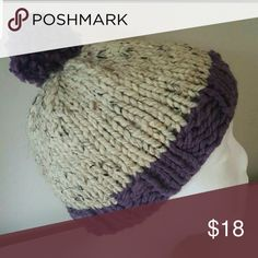 NEW Handknit Beanie Handknit by me  Oatmeal & Lavender  100% Acrylic Yarn Accessories Hats