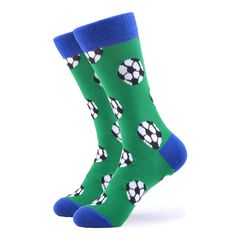 Heading to the stadium to watch your favorite team or watching your child on a cold rainy day. Our fun soccer socks are perfect for the soccer fan. Made with 80% Cotton, 17% Nylon, and 3% Spandex, these Unisex socks are perfect for US Size 7.5-12.5 feet. Funky Socks, Blue Socks, Crazy Socks, Soccer Socks, Sport Socks, Soccer Fans, Happy Socks, Best Sellers, Your Child