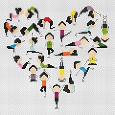 YogaheartCross stitch pattern pdf by sunshinehomedecor on Etsy, $3.99