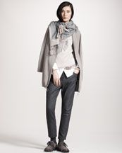 Brunello Cucinelli Cashmere Cardigan Jacket, Metallic-Knit Turtleneck, Canvas-Detail Poplin Shirt & Flannel Cigarette Pants
