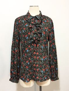 Free People Black Floral Ruffled Long Sleeve Button Up Secretary Blouse Top Sz L #FreePeople #Blouse