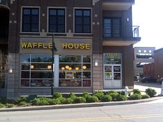 Nicest Waffle House Ever Dickson Street, Yellow Sign, Waffle House, Beacon Of Light, House Rules, 4 Life, Waffles, Breakfast, Building