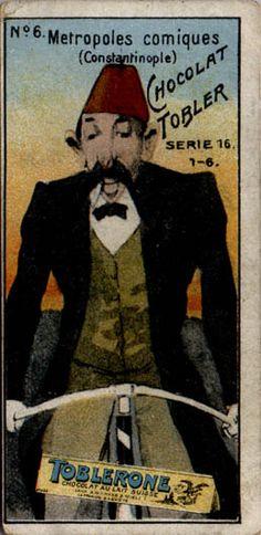 "ephemera assemblyman: Tobler Chocolate ""Metropoles Comiques"" Bicycle Cards, series of 6, c 1900."