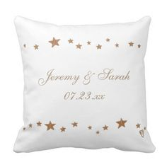 Lively Gold Stars Personalized Wedding Pillows