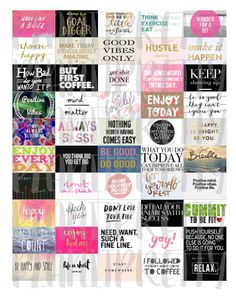DIY 50 Half Box Stickers Inspirational / Motivational / Fun Colorful Quotes and Saying Printable for your Erin Condren Life Planner by PlanItPretty on Etsy