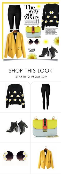 """Yoins-Blazer"" by ladybug-100 ❤ liked on Polyvore featuring SWEET MANGO, Valentino, Tiffany & Co. and yoins"