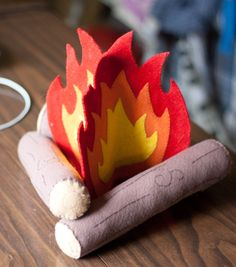 Felt fire: use hot glue instead of seeing, and roll brown felt around pool noodles for quicker results.