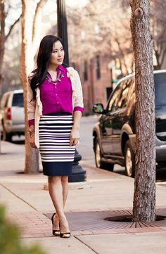 cute & little blog | petite fashion | spring layers outfit | pink ruffle cardigan, radiant orchid shirt, striped pencil skirt, statement necklace
