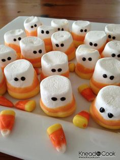 Candy Corn Marshmallow People - These little guys are marshmallows dipped in two shades of tinted white chocolate, with dots of icing added for eyes.