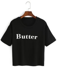 Crop+T-Shirt+Rundhals+mit+Buchstaben+Druck+-schwarz+8.33