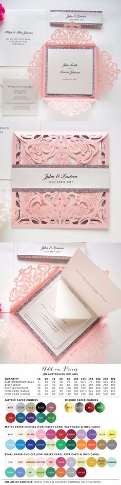 Beauty | Pink wedding invitations by Paper Bound Love
