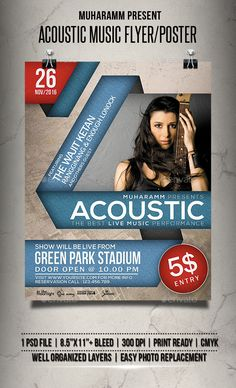 Acoustic Music Flyer / Poster — Photoshop PSD #festival #2016 flyer • Available here → https://graphicriver.net/item/acoustic-music-flyer-poster/18420676?ref=pxcr
