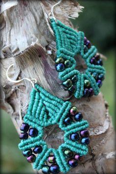 Macrame earrings/Silver clasp/handmade micromacrame earrings/beads earrings