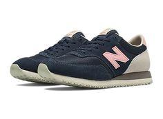 Womens Retro Running 620, Navy with Cream & Pink