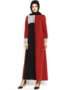 İki Renkli Elbise - Kirmizi-Siyah - Eslem Elbise