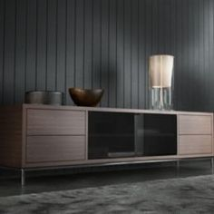 The Lenox media cabinet delivers a sleek edge to media storage; featuring slate tinted IR-friendly glass doors for easy access to all your A/V… Large Furniture, Modern Furniture, Furniture Design, Large Tv Stands, Tv Stand Cabinet, Tv Stand With Storage, Media Cabinet, Media Storage, Cabinet Design