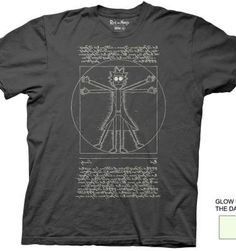 Rick and Morty Glow In The Dark Vitruvian Rick T-shirt.