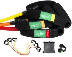3pc Multi-colored Resistance Band Set, Light, Medium, & Heavy with Deluxe Door Anchor and Mesh Travel Bag by Agile Fitness. Save 73 Off!. $11.99. Light, Medium, & Heavy Resistance Bands with deluxe door anchor in black mesh travel bag. Each color-coded band has 2 tapered foam grip handles with reinforced web strapping and woven logo. Incredibly useful for dozens of exercises that add muscular endurance and upper body tone. Light Band (yellow) about 3-5 pounds of resistance, Medium Ban...