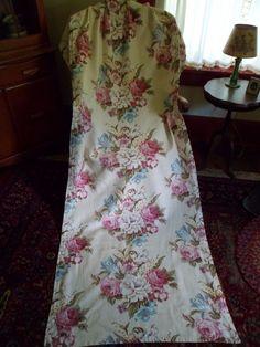 "Vintage 1940's Floral Barkcloth Curtain/Drape Pleated Panel 81""x 33-1/2"" #3"