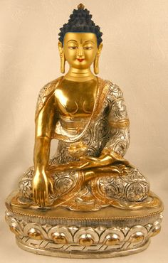 Buddha Shakyamuni. Depicted here in a meditative pose. Legs are crossed in the lotus position and his right hand rests palm up in his lap. With the fingertips of his left hand, he touches the ground, a gesture that refers to his summoning of the Earth Goddess in response to attempts by the demon Mara to disrupt his meditation. Shakyamuni called on the goddess to bear witness to his right to achieve enlightenment, which she did, enabling him to triumph over his antagonist and attain…