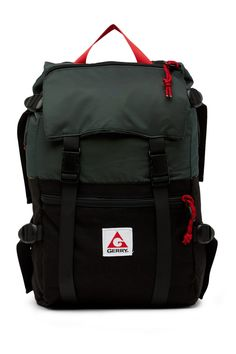 5e1ebbc882 Image of Gerry Fletcher Water Resistant Nylon Flap Backpack Backpack  Straps