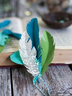 Paper feather wedding favours