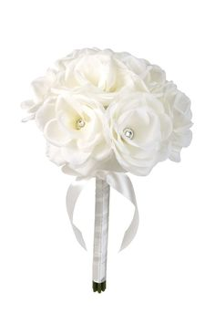 White flowers with rhinestone accents. Perfect keepsake ItemStem is wrapped in white satin ribbon Can be used as a wedding bouquet or décor Can be offered as a mini bouquet alternative for flower girl Flower Girl Bouquet, Diy Bouquet, Silk Flowers, White Flowers, Beautiful Flowers, Bridesmaid Flowers, Wedding Bouquets, Dream Wedding, Wedding Day