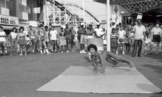 B-boy on the Coney Island boardwalk, 1985. Jenkins: 'When hip-hop was synthesised in the press in 1980, the rap/breakdancing/graffiti trinity made sense because all three come from the same place: the wild energy of New York City street life. But writers were exhibiting the flavour, the attitude, the desire to be the best, way before Run-DMC.'