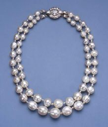 AN IMPORTANT ANTIQUE TWO STRAND PEARL NECKLACE Comprising twenty-eight and twenty-nine graduated pearls, total weight, excluding clasp, approximately grains carats), measuring to mm. with seed pearl spacers and diamond foliate terminal Heart Choker, Pearl Choker Necklace, Pearl Jewelry, Diamond Jewelry, Antique Jewelry, Jewelery, Vintage Jewelry, Fine Jewelry, Vintage Pearls