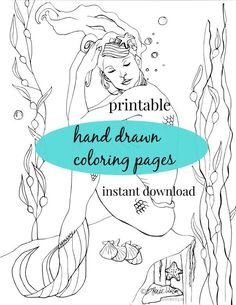DIGITAL DOWNLOAD Adult Coloring Book Printable Women Gift Mermaid Pages Gifts College Student DIY Valentine
