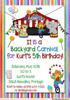 Circus Carnival Birthday Invitation - Colorful Backyard Party Animal