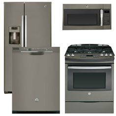 Package 39 - GE Appliance - 4 Piece Appliance Package with Gas Range - Includes Free Microwave - Slate Slate Kitchen, Kitchen Redo, New Kitchen, Kitchen Remodel, Kitchen Ideas, Updated Kitchen, Slate Appliances, Kitchen Appliances, Interior Paint Colors For Living Room