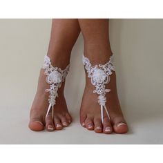 5 pairs bridesmaid gift Ivory or white lace wedding barefoot sandals... ($100) via Polyvore featuring shoes, sandals, white shoes, lace-up sandals, lacy shoes, winter white shoes ve ivory shoes