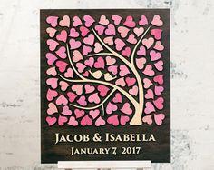 3D Wedding Guest Book Alternative Wedding Tree Wood por Wedding3D