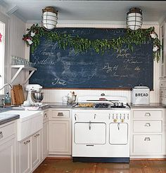 For huge empty dining room wall - an old school chalkboard or map! Love the chalkboard idea, because we could have rotating artwork murals, recipes, love notes, calendar for kids, etc. From This Old House Magazine