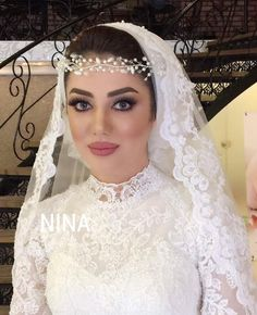 Bride Veil, Hijab Bride, Hijab Wedding Dresses, Bridal Dresses, Muslim Couples, Wedding Hair And Makeup, Wedding Veils, Dream Wedding, Wedding Things