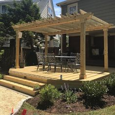 Deck and pergola installation in Northern New Jersey. Patio Roof, Pergola Patio, Pergola Plans, Pergola Kits, Backyard, Big Deck, Black Pergola, Lawn Maintenance, Hammock Stand