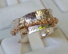 Silver And Gold Spinner Ring ,Handmade Spinner Ring ,Unique Sterling Silver Spinner Ring ,Bridal Spi Sterling Silver Jewelry, Gold Jewelry, Unique Jewelry, 925 Silver, Gold Gold, Wedding Ring Bands, Wedding Jewelry, Sunflower Jewels, Mixed Metal Jewelry