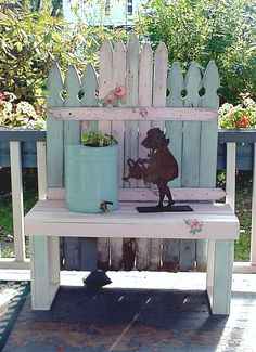 Reserved for Debbie Vintage Garden Cottage Bench Picket Fence Pink Roses Potting Bench Porch Shabby Chic OOAK Vintage Cottage potting bench Pallet Potting Bench, Pallet Garden Benches, Potting Tables, Garden Seating, Decoration Shabby, Garden Cottage, Shabby Cottage, White Home Decor, Diy On A Budget