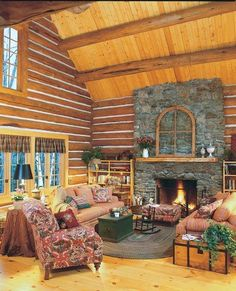 "Cottage style by © Alpine Log Homes Photos on TLC Home ""Cabin Decor"" via tlc.howstuffworks.com"